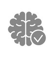 brain with tick checkmark gray icon internal vector image