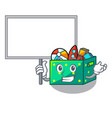 bring board character wooden box of kids toys vector image vector image