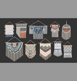 bundle of macrame wall hangings isolated on black vector image vector image