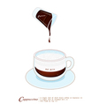 Cappuccino Coffee Drink in A Glass Cup vector image vector image