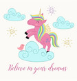 card with unicorn on the cloud vector image vector image
