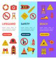 cartoon lifeguard banner vecrtical set vector image vector image