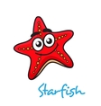 Cartoon red star fish with happy face vector image vector image