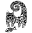 Cat with fish vector | Price: 1 Credit (USD $1)