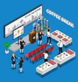 coffee break isometric composition vector image vector image