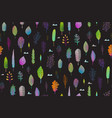 colorful leaves nature seamlees pattern on black vector image vector image