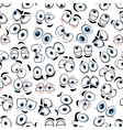Comics googly eyes seamless pattern background vector image vector image