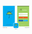company raining and umbrella splash screen and vector image
