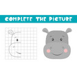 complete picture a hippo copy picture vector image