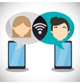 couple smartphone wifi internet chatting vector image