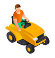 cut grass machine icon isometric style vector image