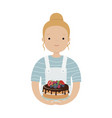 cute girl cook with a cake vector image
