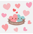 cute pastel smiley heart with ribbon icon or card vector image vector image