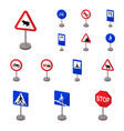 different types of road signs cartoon icons in set vector image vector image