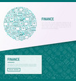 finance concept in circle with thin line icons vector image vector image
