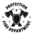 fire protection department logo simple style vector image vector image