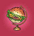 globe international burger fast food street vector image