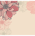 Greeting card with hand-drawn flowers of dahlia vector image
