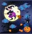 halloween night with old witch castle and pumpkin vector image vector image