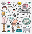 hand drawn doodle lovely cat set vector image vector image