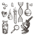 hand drawn science beautiful vintage lab icons vector image