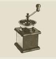 hand drawn vintage coffee grinder vector image
