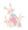 happy easter day bunnies with big decorative egg vector image vector image