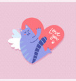 happy valentine s day greeting card winged cat vector image