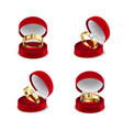 jewelry box rings set vector image