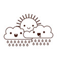 kawaii sun and cloud with rain in monochrome vector image vector image