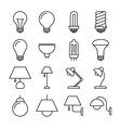 Lamp line icons vector image vector image
