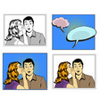 man and woman whisper pop art comic retro style vector image vector image