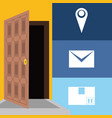 message and box package service in the door vector image vector image