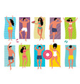 people sunbathe summer vacation tourists group vector image vector image