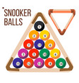 pool billiard balls snooker wooden rack vector image