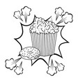 pop corn and donut black and white vector image