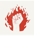 raised up fist on red fire flame silhouette vector image