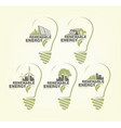 renewable energy set of earth in bulb concept vector image vector image