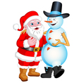Santa and Snowman Talking vector image vector image