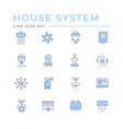 set color line icons house systems vector image