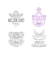 set of 4 original logos for mexican vector image