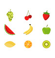 set of fruits in a flat style fruits and berries vector image vector image