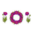 set of poppy wreath and bouquets vector image vector image