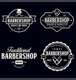 set vintage barbershop labels templates vector image vector image