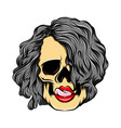sexy girl skull licking lips with the vector image