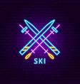 ski neon label vector image vector image