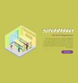 supermarket alcohol department isometric banner vector image vector image