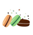 three colorful macarons flying dessert vector image