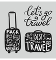 Travel inspiration quotes on suitcase silhouette vector image