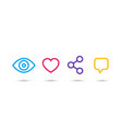 view like share comment linear icons on white vector image vector image